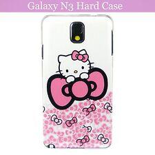 Cartoon Figure Kitty w Ribbon Hard Back Case Cover Samsung Galaxy Note 3 & Film