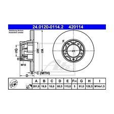 2 St. ATE 24.0120-0114.2 Bremsscheibe   für VW LT 40-55 I Kasten
