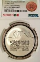 2010 MEXICO SILVER TAMAULIPAS 200TH ANNIVERSARY NGC PF 70 ULTRA CAMEO PERFECTION