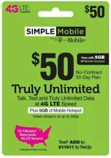 SIMPLE MOBILE  Prepaid $50 UNLIMITED Plan with 5GB HOTSPOT REFILL