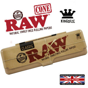 RAW CLASSIC SLIM KING SIZE ROLLING PAPERS METAL TIN STORAGE CASE ROLL CONTAINER