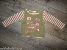 Double T-shirt rose et kaki imprimé école SALSO BAMBA Taille 3 ans