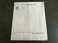 Vintage CITY OF SHEFFIELD POLICE (1844 - 1967) Incident Report Form Ephemera