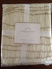 NIP POTTERY BARN RUCHED VOILE IVORY TWIN DUVET COVER RUFFLED EDGES RETAILED $169
