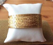 VINTAGE ITALIA GOLD PLATTED Wide Cuff Bracciale Big Heavy ~ qualità lucido (BR040)