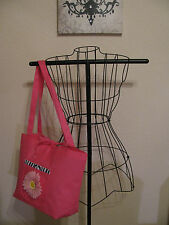 New Large Pink Eco Purse Tote Bag w/ Zebra Print & Pink Daisy - Great Gift!