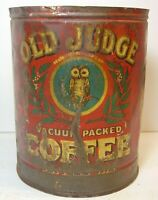 Vintage 1920s OLD JUDGE COFFEE TIN GRAPHIC TALL 1 POUND CAN ST LOUIS DAVID EVANS