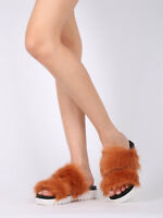 New Women Faux Fur Open Toe Footbed Slide - 17953 By Qupid Collection
