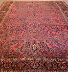 10.8x13.5 Antique vintage Sa Rouk  Circa 1920 estate rug.