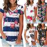 Womens Summer Tshirt Print V Neck Short Sleeve Shirt Casual Tunic Tops Blouse