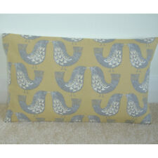 "20""x12"" Oblong Bolster Birds Cushion Cover Nordic Scandinavian Grey and Ochre"
