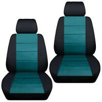 Fits 2012-2019 Kia Sportage  front set car seat covers    black and teal