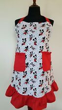 Mickey Mouse Black and White with Red Ruffles Cotton Apron: XL size
