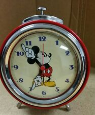 DISNEY 2005 MICKEY MOUSE ALARM CLOCK  MOVING ARMS METAL RETRO NICE PREOWNED