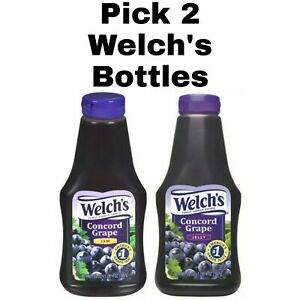 Pick 2 Welch's Concord Grape Jam or Jelly 20 oz Squeeze Bottles