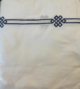 Pottery Barn Emilia Embroidered Shower Curtain - 72x72 - Midnight Blue - NEW