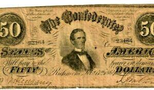 "$50 ""CONFEDERATE"" 1800'S $50 (RARE) ""CONFEDERATE"" 1800'S (RARE)  $50  RARE !!!"