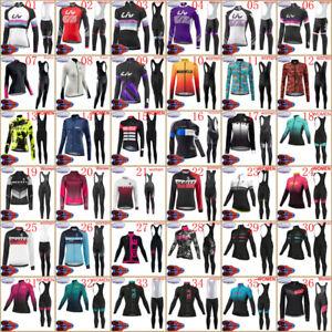 Women winter cycling jersey bib pants set long sleeve thermal fleece bike Outfit