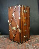 Antique Leather & Brass Wardrobe Trunk Stunning Piece
