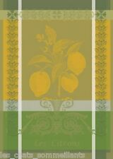 GARNIER THIEBAUT, CITRON ZESTE  (LEMON) WOVEN FRENCH KITCHEN / TEA TOWEL, NEW