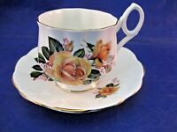 BONE CHINA TEA CUP AND SAUCER - MADE IN ENGLAND - HAS MAKERS MARK BUT NO NAME