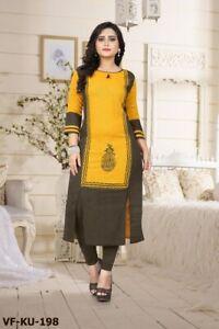 Kurti Tunic Cotton Pakistani Women Indian Designer New Top Fancy Printed Kurta
