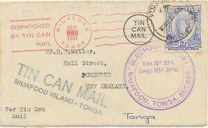 TONGA 1937/70 2 VF TIN CAN MAIL (tin can post) covers Niuafoou Island-Tonga - NZ