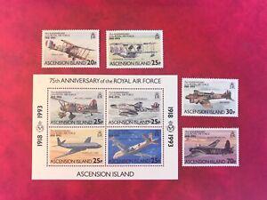 ASCENSION ISLAND 1998 MNH AVIATION RAF ROYAL AIR FORCE FULL SET & MINISHEET