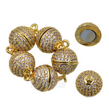 Zircon Magnetic Round Clasp Micro Pave Connector For Bracelet Necklace 8mm 10mm