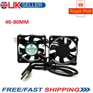 UK 40-80mm DC 5V USB Silent Fan Cooler Black Master Sleeve for PC Computer Case