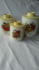 vtg  Ransburg kitchen tin canister set (3) coffee tea and sugar made in Indiana