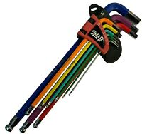 Long Allen Hex Key Set Ball End Metric 9 Piece Magnetic Colour Coded with Holder
