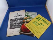 RECIPE BOOKLET FLYER LOT OF 3 SALAD DRESSING CUCUMBER & TOMATOES & 29 VEGETABLES