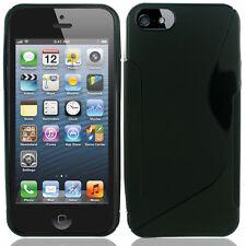 Apple iPhone 5 5S SE TPU Candy S-Line Flexi Gel Skin Case Cover Black S-Shape