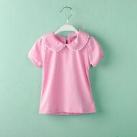 Baby Girl T-shirts Cotton Short Sleeve  Peter Pan Collar Tee Tops 1-6 Years