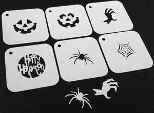 #1 Set of 6pcs HALLOWEEN Reusable Stencils Spider Web Pumpkin Text Face Paint