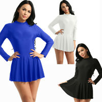 Adult Women Ballet Dance Leotard Top  Mini Skirt Skate Dress Costumes Ballroom