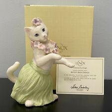 "Lenox Kitty's Hula Dance Cat Figurine Hawaiian Lei Mint in Box with Coa 6.75"""