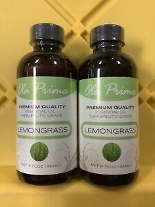 LOT OF 2 Ola Prima 4oz -Premium Quality Lemongrass Essential Oil Therapeutic A20