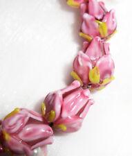 Handmade Lampwork Glass Beads Pink Rose Buds Flower Beads 11mm 4 Beads (#a96)