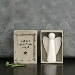Porcelain Angel Matchbox Gift - White Little Guardian Angel - East Of India