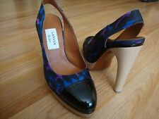 "LANVIN ""ete 2009"" multi color nylon patent leather wooden shoes size 39 8.5 $650"