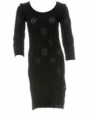 CHANEL black knit eyelet lace textured jersey dress tunic CC logo 38 M 6 8