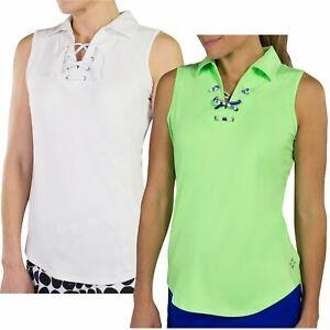 JoFit Women's Ladies Golf Lace Up Sleeveless Polo Shirt - Pick Size & Color