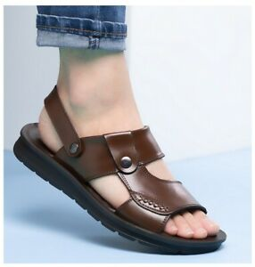 Summer Mens Sandals Slippers Slingbacks Open Toe Antiskid Comfort Flats Shoes L