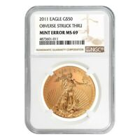 2011 1 oz $50 Gold American Eagle NGC MS 69 Mint Error (Obv Struck Thru)