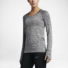 Women's Nike Dry Long Sleeve Running Knit Top Sz M Grey Heather 831500 010