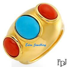 US$1379 FPJ Breathtaking High Quality Ring with Coral Turquoise 14K Gold REDUCED