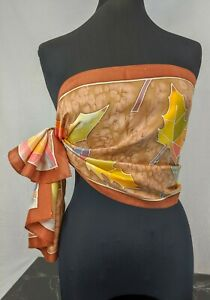 """Vintage Amber Ginger Marmalade Colour Hand Painted 100% Silk Scarf 58""""x 17"""""""