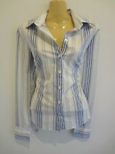 Classic white striped tailored cotton shirt by high-end brand MARCS s10 AS NEW